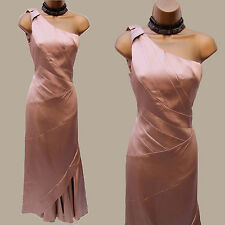 Karen Millen Champagne Satin One Shoulder Evening Ballgown Maxi Dress 14 UK