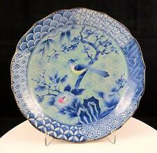 "CHINESE ANTIQUE BLUE AND WHITE PORCELAIN BIRD AND BLOSSOMING FLORAL 7 3/4"" DISH"