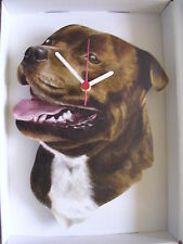 Staffy,Brown Staffordshire Bull Terrier Dog Wall Clock. New & Boxed.