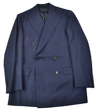 NWT BELVEST Navy Orange Dot STripe Super 150's Flannel Double Breasted Suit 40 i