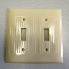 ANTIQUE ART DECO SIERRA IVORY BAKELITE DOUBLE SWITCH PLATE COVER NOS Original