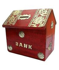 Wooden Antique Handicraft Red Indian Hut Coin Box Piggy Money Bank Gift Item