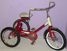 MURRAY CHAIN DRIVE TRICYCLE VINTAGE 1950s ORIGINAL RED & WHITE PAINT