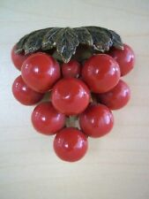 Vintage Cherry Red Grape Cluster Fur/Dress Clip - Ornate Metal Bakelite Era