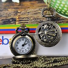 Dragonfly Hollow Vintage Bronze Steampunk Quartz Necklace Pendant Chain Watch