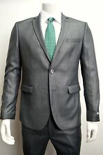 Men's Sharkskin Gray Slim Fit Dress Suit Size 36S NEW Suit