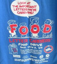 Family Circus Bill Keane Postal Carrier Food Drive Large Blue T-Shirt NALC 2004