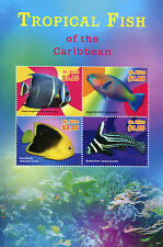St Kitts 2015 MNH Tropical Fish of Caribbean 4v M/S II Angelfish Parrotfish