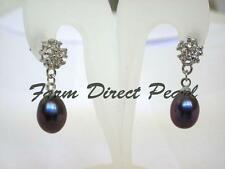 Genuine Cultured Freshwater Black Pearl Flower CZ Dangle Drop Stud Earrings