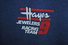 Vintage '80s Hayes Jewelers #9 Racing team blue soft thin t shirt M
