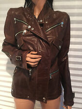 Authentic DOLCE & GABBANA Brown Sheepskin Leather MOTORCYCLE Jacket 42