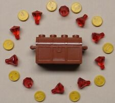 x1 NEW Lego Brown Treasure Chest Minifig Money Gold Coins & Gems