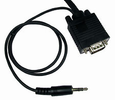 2 Meter 2m Laptop to HD LCD LED TV 15 pin VGA with Audio 3.5mm jack Cable Black