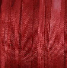7mm Hand Dyed Silk Ribbon - 3 mtr Deep Carmine Doll House Miniatures Dressmaking