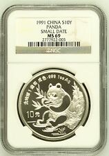 China 1991 1 oz 10 Yuan silver panda Small Date  NGC MS69 SN:2777922-003