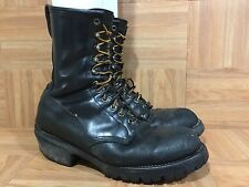 VTG�� Red Wing 699 Tall Fire-Fighter Boots Black Leather Made In USA 10.5 WORN