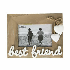 ASHLEY FARMHOUSE BEST FRIEND WOOD RECTANGLE FREE STANDING PHOTO FRAME 6X4 PHOTO