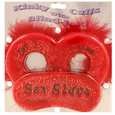 """Sex Slave"" Kinky Fluffy Handcuffs & Eye Mask Saucy Valentines Gifts for Lovers"