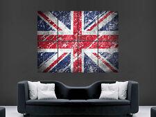 UNION JACK BRITISH FLAG VINTAGE WORN LOOK HUGE  POSTER ART  PRINT LARGE GIANT