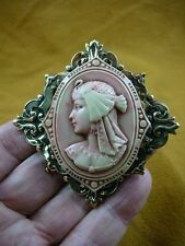 (CL74-3) Egyptian lady wearing bird headdress Pink CAMEO Pin Pendant brooch