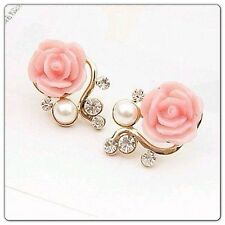 Gold Plated Rose Flower With CZ And Pearl Stud Earrings - Korea's New Fashion