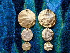 Kenneth Jay Lane Satin Gold Hammered Coin Drop Fishhook Pierced Earrings