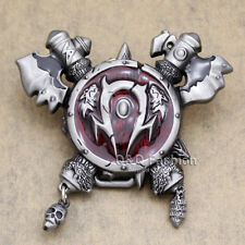 Western World Of Warcraft Horde WOW Cross Axe Skull Shield Cowboy Belt Buckle