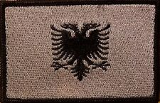 ALBANIA Flag Tactical Patch With VELCRO® Brand Gray Version Black Border