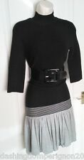 BNWT RARE KAREN MILLEN HIGH NECK KNIT JUMPER DRESS SIZE 3 12 10 COLOUR BLOCK 14
