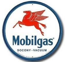 Mobilgas Mobil Pegasus ROUND TIN SIGN Metal Station Garage Gas and Oil Ad