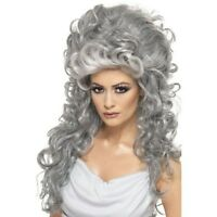 Womens Medeia Witch Beehive Long Grey Wig Halloween Fancy Dress Ladies Accessory