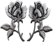 Silver roses pair flowers floral goth retro boho applique iron-on patch S-1034