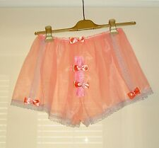 Sissy Very Sheer Nylon Tap Panties French Knickers with Snap Fly Front Peach
