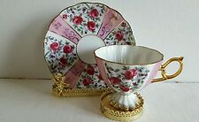 Vintage Scalloped Design Footed Tea Cup and Saucer Pink Rose Gold Leaves EUC