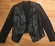 Francis Leon Black Leather Scuba Insert Moto Jacket Size 0 Uk 8