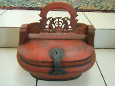Antique Chinese Red painted Wood Carved Wedding Dowry Box Food Staved Constructi