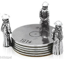 """Old Bill"" World War 1 (WW1) Pewter Coaster Stand with 4 Coasters Set"
