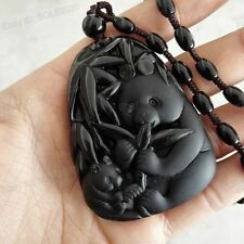 Natural Black Obsidian Hand Carved Cute Bamboo Panda Lucky Pendant Necklace
