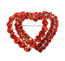 Double Red Heart Pin Brooch Wedding Party Valentines Day