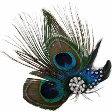 Hair Accessories Wedding Gift Peacock Feather Crystal Clip Fascinator