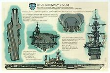 USS Midway CV-41, Aircraft Carrier, Military, US Navy, Ship - Technical Postcard