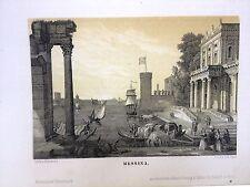 MESSINA, litografia originale 1840 V.SCHWAHE.SICILIA