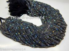 "3-4 mm. NATURAL MULTI FIRE FLASHING LABRADORITE FACETED RONDELLE BEAD 13"" STRAND"