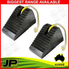 2 x RUBBER WHEEL CHOCK WITH ROPE, UTE CARAVAN TRAILER BOAT