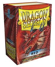 100 PROTECTIVE SLEEVES Red Rosso MTG MAGIC Dragon Shield