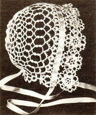 Precious Irish Rose Vintage Baby Bonnet Tatting Pattern
