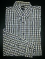 c683 L Tan Charcoal White Plaid NAUTICA Casual Dress Shirt 80's two-ply Cotton!
