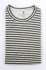"NWT. Brunello Cucinelli Mens Thick Cotton ""Slim Fit"" Wide Striped Crewneck Tee M"