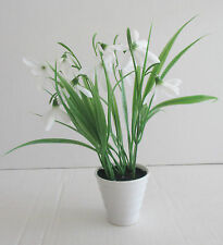 Artificial Snowdrops in White Ceramic Pot - Snowdrop Decorative Flowers & Plants
