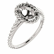 14k White Gold Semi Mount Setting Halo Rope Style Engagement Ring Oval Diamond